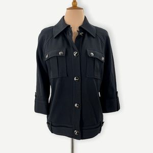 St. John black lightweight shirt jacket, button down, size Small